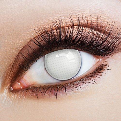 aricona Kontaktlinsen - komplett weiße Kontaktlinsen mit Gitternetz-Motiv zum Halloween Zombie Kostüm