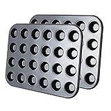 Tebery 2er 24er Mini-Muffinform, Backblech antihaft für Muffins,Muffin Backform mit Wärmeleitung 38.5 x 26 cm
