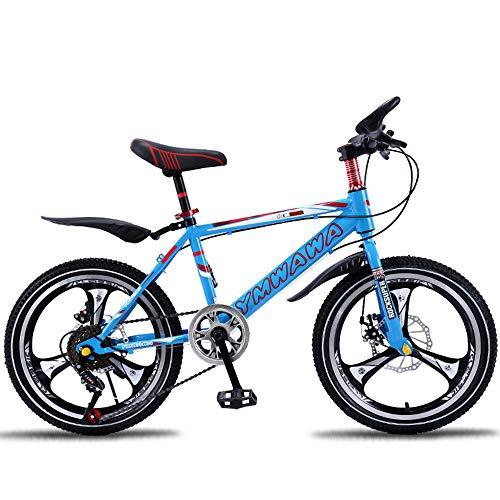 LISI Mountain Bike Bambini Bicicletta 18/20 Pollici Mountain Bike Freno a Disco smorzamento Singola velocità Bambini Bicicletta 5 Colori Opzionale,Blue,18'