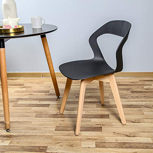 Bestier 4 Modern Dining Chairs Mid Century Modern Chair Plastic Armless Side Chair with Beech Legs Ergonomic Chair for Dining Room Living Room Bedroom Kitchen Office Set of 4, Simple and Stable, Black
