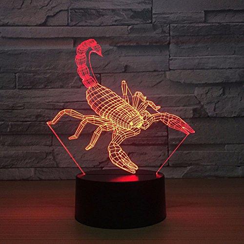 Jinson well 3D Skorpion Lampe optische Illusion Nachtlicht, 7 Farbwechsel Touch Switch Tisch Schreibtisch Dekoration Lampen Acryl Flat USB Spielzeug