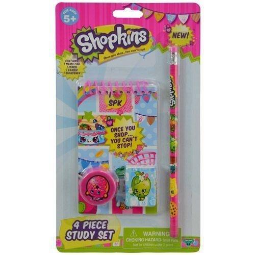 Shopkins 4 Pc Study Kit Kids School Pencil Set