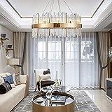 no-branded Lámpara de Cristal LED Lámpara de Techo Europea Villa Hotel Dormitorio Luz cálida Oro 60 * 60 * 38 cm Candelabros YFJFJ Tienda