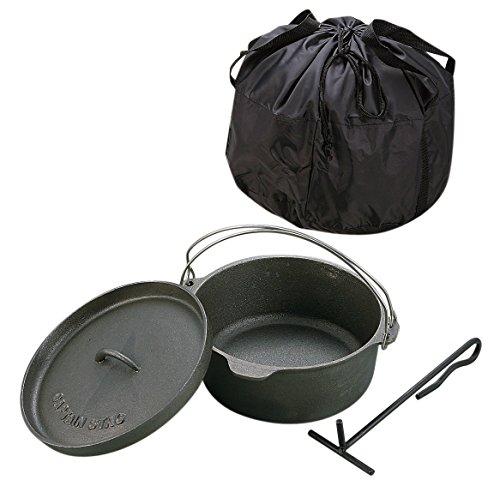 キャプテンスタッグ(CAPTAIN STAG) キャンプ バーベキュー ダッチオーブン セット 鉄鋳物 25cm リッドリフター・収納バッグ付き シーズニング不要 UG-3048