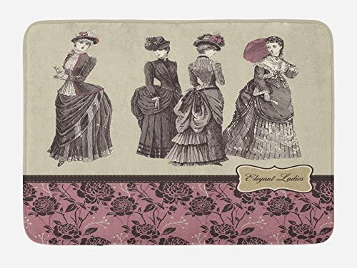 Ambesonne Victorian Bath Mat Ladies Clothes Fashion History Dress Handbag Feather Gloves Floral product image