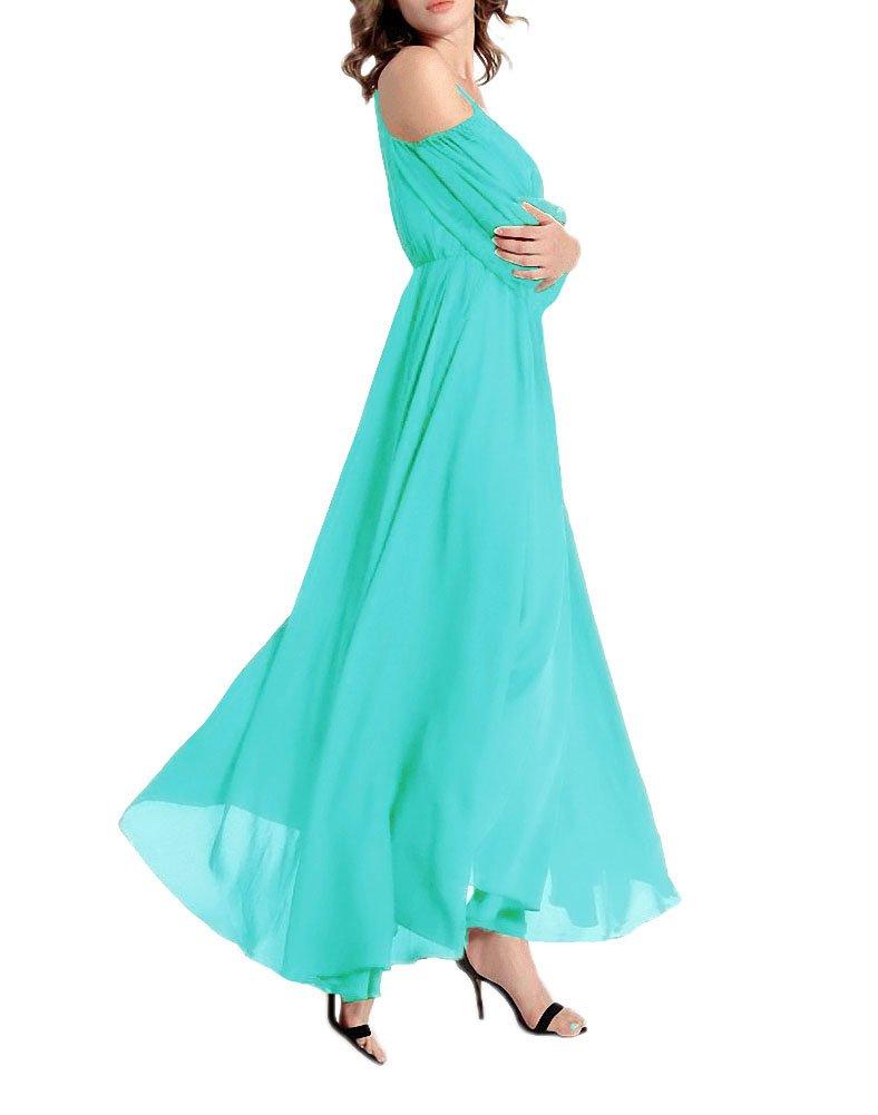 Available at Amazon: Sinono Women's Cold Shoulder 3/4 Sleeve Casual Chiffon Long Maxi Dress