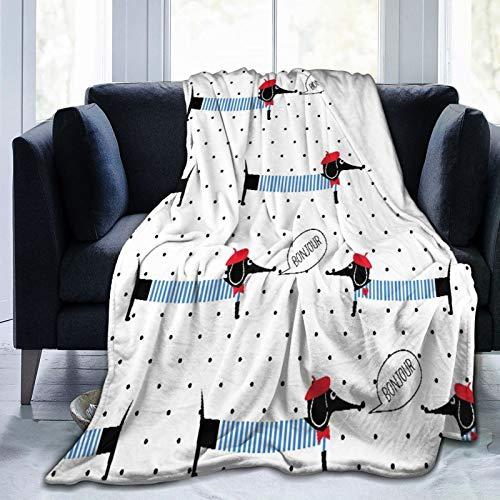 LISNIANY Manta de Franela Suave,Perros de Estilo francés Diciendo Bonjour de Patrones sin Fisuras sobre Fondo de Lunares,Cama de Camping para sofá 127x102cm