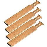 Organizador De Cajones Ampliables Divisor De Cocina De Bambú Divisor De División De Almacenamiento De Primavera Cargados De Bambú Ajustable Diviltadores De Bambú Organizadores Organización De Cajones