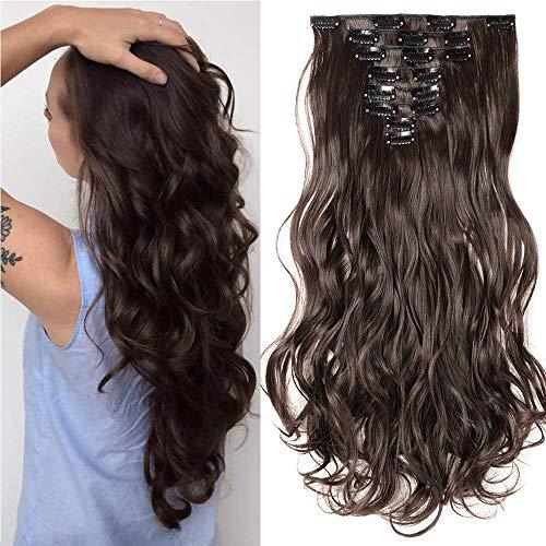 Clip in Extensions Haarverlängerung Haarteil 8 Tresssen wie Echthaar gewellt Dunkelbraun 24