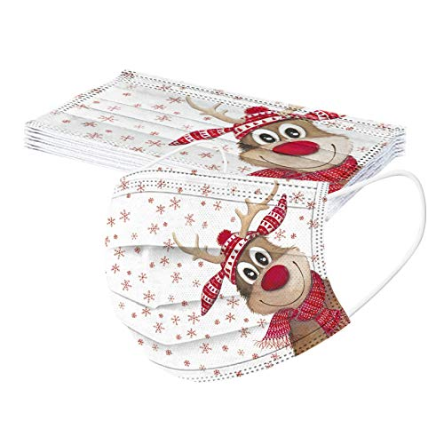 10Pcs Christmas Disposable Face_Mask for Adult,Breathable Xmas Pattern Bandanas