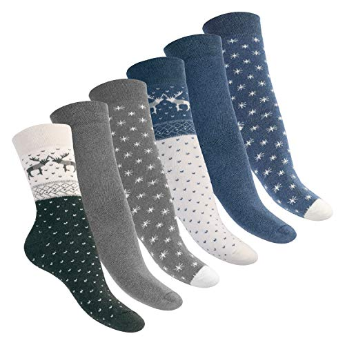 Footstar Damen Wintersocken (6 Paar), Warme Vollfrottee Socken mit Thermo Effekt - Blau-Grau 35-38