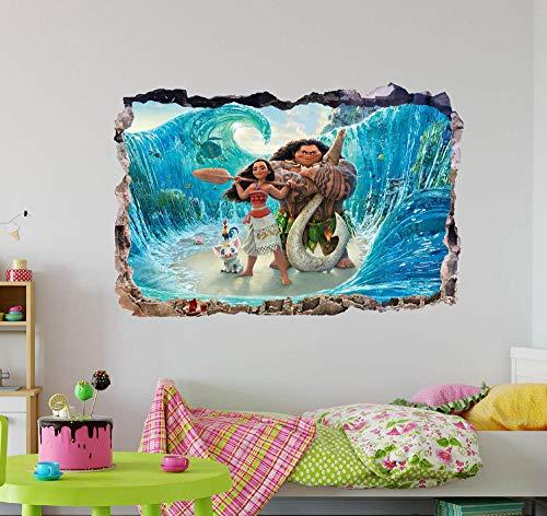 Pegatinas de pared Dibujos animados anime 3D pared calcomanía arte mural decoración del hogar pegatina extraíble vinilo cartel papel tapiz- 80×120cm