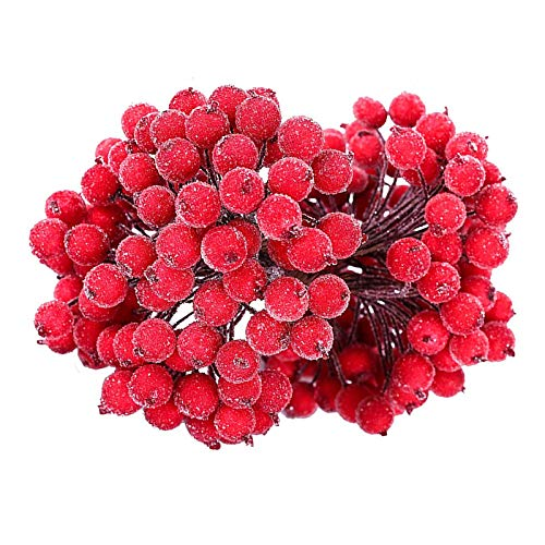 240pcs Weihnachten Beeren Deko Rot Holly Beeren Weihnachten Dekoration Künstliche Holly Beeren Rote Mini Weihnachten Dekoration Künstliche Frucht Beere Holly Blumen - Rot für Weihnachtsbaum Ornamente