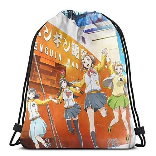 OPLKJ Un lugar más allá del universo (Sora Yori Mo Tooi Basho) Bolsas con cordón de anime Bolsa de gimnasio Bolsas de cordón Bolsa de gimnasio Mochila de viaje Multicolor Un tamaño