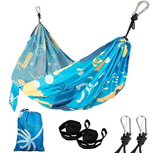 GIEADUN Hamaca de Camping 270 x 140 cm, Hamaca Colgantes de Nylon Ultraligera para Viajes y Acampadas, 300kg de Capacidad de Carga, Secado Rápido, Transpirable (Blue Flower)