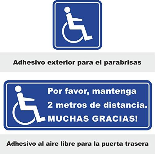 easydruck24de Aufkleber-Set Bitte 2 Meter Abstand halten. Vielen Dank! + Rollstuhlfahrer-Aufkleber I (Spanisch) - Autoaufkleber, Rollstuhl, Rolli I hin_244
