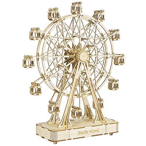 Rolife Modelos Mecánicos Kits Ferris Wheel con música Puzzle de Madera 3D para niños y Adultos