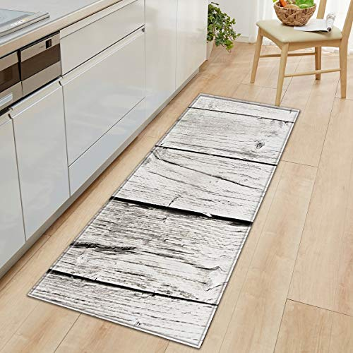 OPLJ Anti-Rutsch-Holzmuster Teppich Küchenmatte Schlafzimmer Wohnzimmer Teppich Eingang Fußmatte Flur Badezimmer Bodenmatte A18 50x80cm