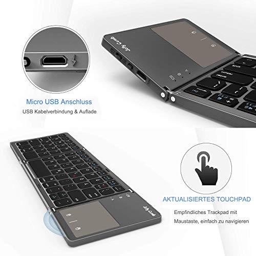 Jelly Comb Faltbare Bluetooth Tastatur mit Touchpad, Wireless Bluetooth Keyboard und Wired QWERTZ Tastatur mit USB/USB C/Micro USB Kabel für Android Windows iOS Handy Tablet, Grau