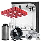 TopoLite Grow Tent Room Complete Kit Hydroponic Growing System LED 1800W Grow Light + 6' Carbon Filter Combo + 60'x60'x80' Dark Room (LED1800W+60'X60'X80'+6' Filter Combo)