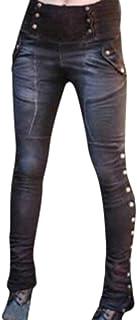 Yying Mujeres Tallas Grandes Punk Leggings Señoras Costura Casual Color Slim Fit Invierno Otoño Side Stud Gótico Moda Cool...
