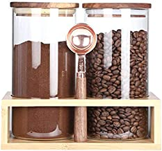 KKC Home Accents Borosilicate Glass Jars with Wood Lids, Tea Container for Loose Tea,Clear Kitchen Storage Jar for Coffee Bean,Nut,Sealed Airtight Glass Container Wooden Lid,39 Floz (1150 ML)
