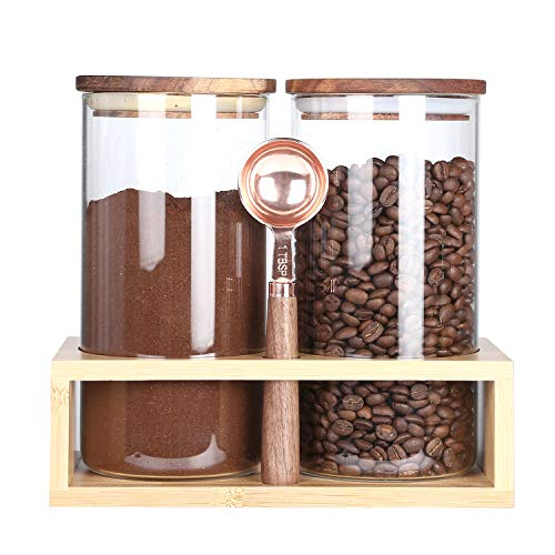 KKC Kaffeebohnen Behälter - kaffeebehälter Glas Luftdicht - Kaffeedose Glas für Kaffeebohnen - Aufbewahrungs mit Löffel für Kaffeebohnen,Pulver,Nüsse, Kakao-1150ML im 2er Set