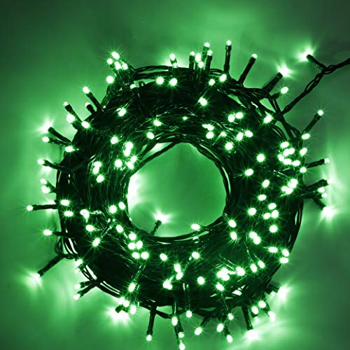 kemooie St Patricks Day Decorative Mini Lights 300 LED 99ft Green Wire Fairy String Lights Plug in 8 Lighting Modes for Indoor Outdoor Xmas Tree Wedding Party Decoration Green