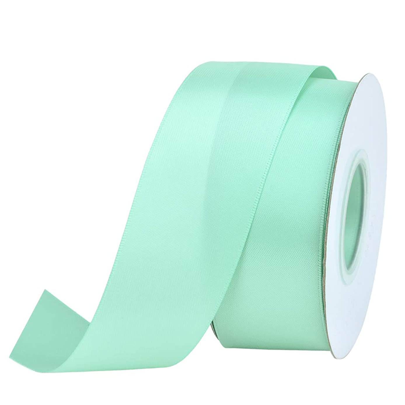 Ribest 1-1/2 inch 25 Yards Solid Double Face Satin Ribbon Per Roll for DIY Hair Accessories Scrapbooking Gift Packaging Party Decoration Wedding Flowers Aqua