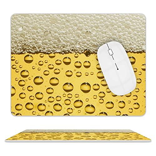 Leder-Mauspad, Mausmatte ohne Verformung mit genähten Gummibasis-Anti-Falten-Mauspads zum Arbeiten und Spielen (Bier)