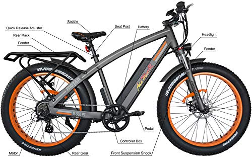 Addmotor MOTAN Electric Bicycles Mountain Fat Tires 26 Inch 750W Power Electric Bikes Removable 48V 12.8AH Lithium Battery M-560 P7 Ebikes for Adults+Fenders+Rear Rack (Orange)