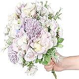 YYHMKB, 3 uds., Rosas Artificiales, Flores púrpuras, hortensias Falsas, claveles de Seda, arreglos de Ramo, centros de Mesa de Boda, decoración púrpura