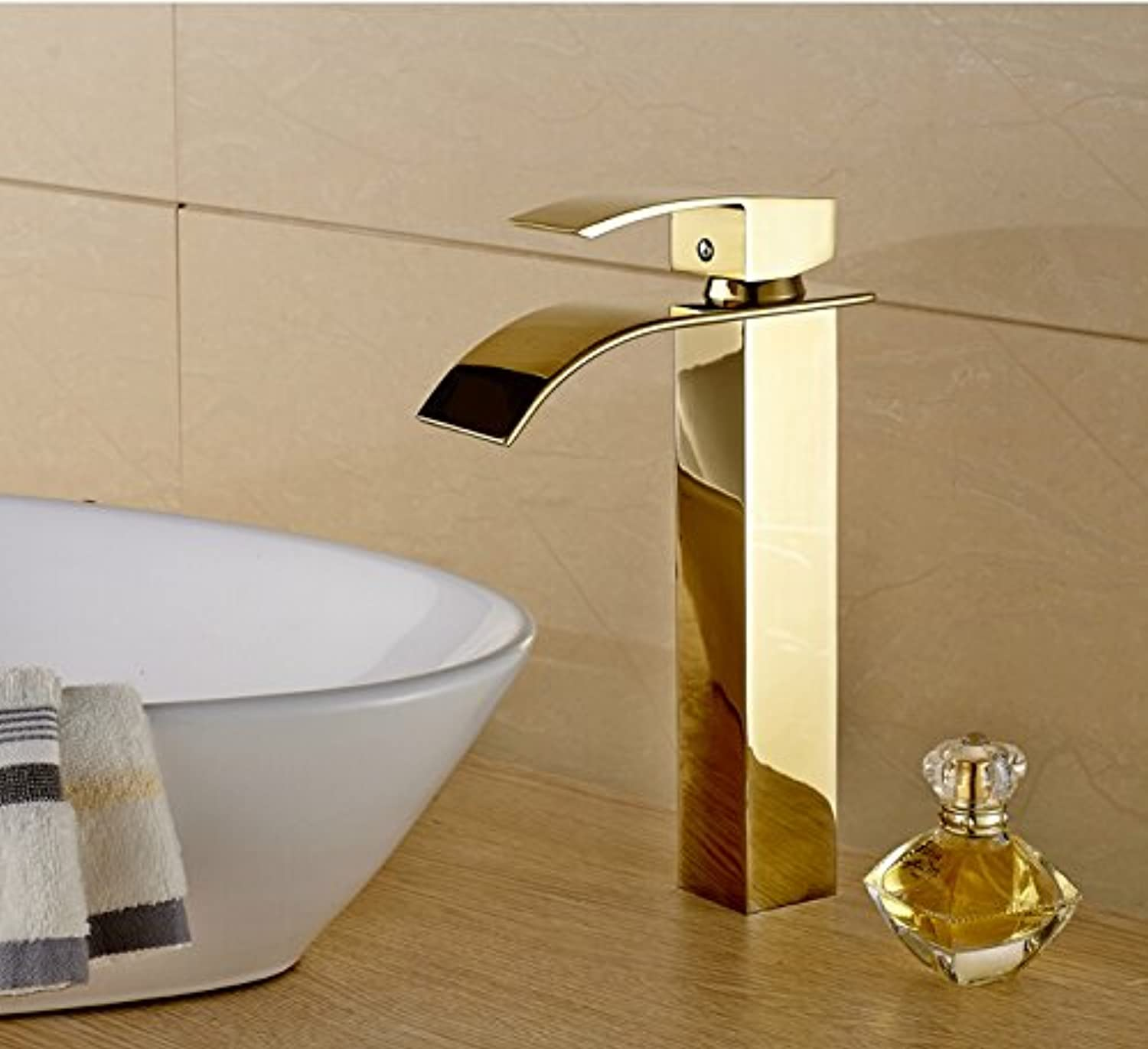 Makej Tall Basin Faucet golden color Solid Brass Waterfall Bathroom Mixer Faucet Deck Mounted Single Handle Tap