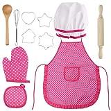 BESTonZON Kinderschürze Koch und Backset, Kochset für Kinder 11 Teiliges Küchenkostüm Rollenspiele mit Schürze, Kochmütze, Handschuh Utensil und Ausstecher für Kleinkinder