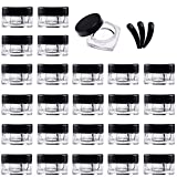 Yalbdopo - Juego de 25 tarros de plástico vacíos para cosméticos con tapas de rosca negras, para crema, polvo, almacenamiento de maquillaje, incluye 3 mini espátulas