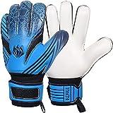 FitsT4 - Guantes de portero de fútbol para niños, con doble protección de la muñeca y látex antideslizante resistente al desgaste para dar protección para evitar lesiones, 7, Azul