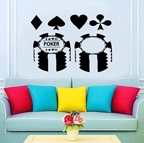 Wall Sticker Design Poker Casino Card Pattern Wall Sticker Creative stickers muraux décoration de la maison salon chambre cuisine art autocollants 59X42Cm