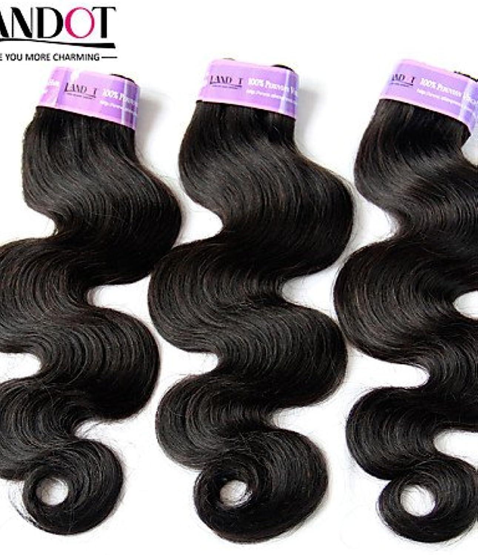 JFF  3 Stück lot 12  -30  peruanisches Krperwelle reine Haareinschlagfden natürliche schwarze 1b   remy Menschenhaar Webart wellenfrmige