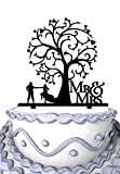Meijiafei Rustic Wedding Mr & Mrs Bride and Groom with Blossom Tree Cake Topper