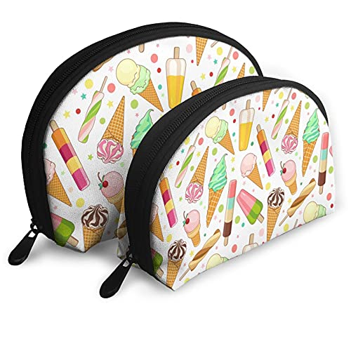 Vanilla Ice Cream Delicious Merchandise Shell Cosmetic Storage Bag Travel Pouch Sweet Dessert Pattern Carrying Cosmetic Bag for Women Girl