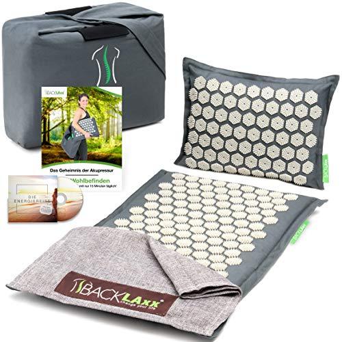 BACKLAxx ® Akupressurmatte Set - Entspannung für Rücken, Nacken, Schulter und Fuß - Massagematte gegen Verspannungen - Kissen, Matte, Tuch und...