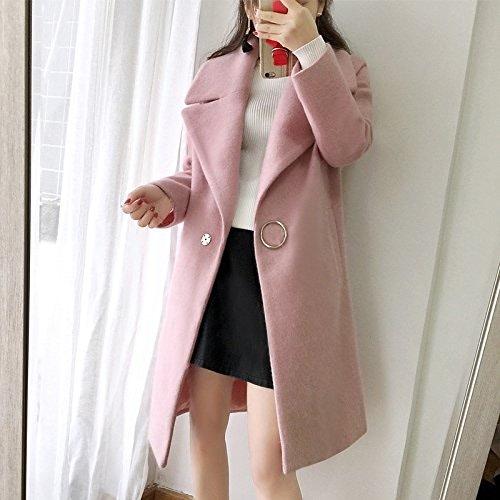 Xuanku épaississeHommest De Revers Manteau De Laine dans Le Long Manteau en Laine Femme Cocoon