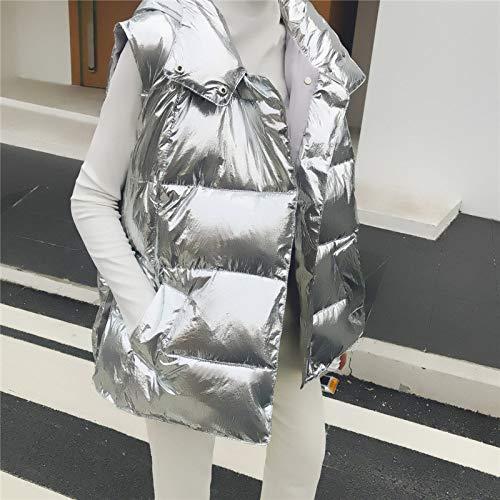 Chaleco De Mujer De Plumón Ligero,Chaleco De Gran Tamaño Plateado Brillante Para Mujer Chaqueta De Chaleco De Algodón Cálido De Invierno Para Viajes De Oficina Al Aire Libre Ropa Diaria Escalada