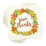 Give Thanks White Paper Napkins for Thanksgiving Party (5 x 5 In, 100 Pack)