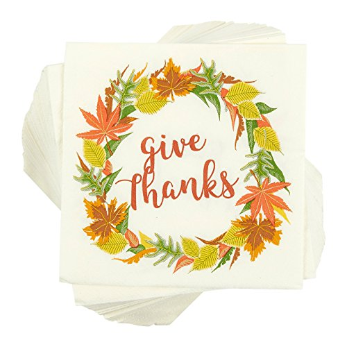 Thanksgiving Party Supplies, Paper Napkins (5 x 5 In, 100 Pack)