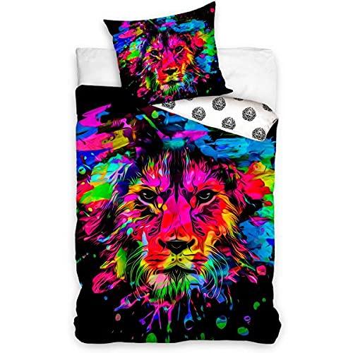 Funda de edredón de león, multicolor, 140 x 200 cm, niño, 100% algodón, funda de almohada de 70 x 90 cm
