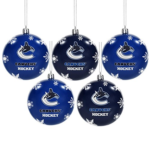 Forever Collectibles NHL Vancouver Canucks Shatterproof Ball Ornament (Pack of 5), Blue