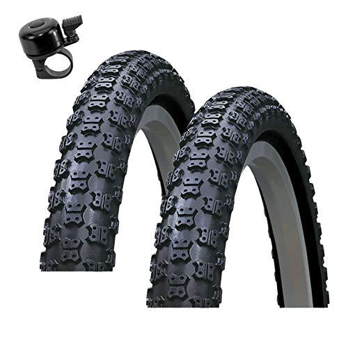 Roverstone 54-406 - Cubiertas para bicicleta (2 unidades, 20 x 2,125, incluye campana), color negro