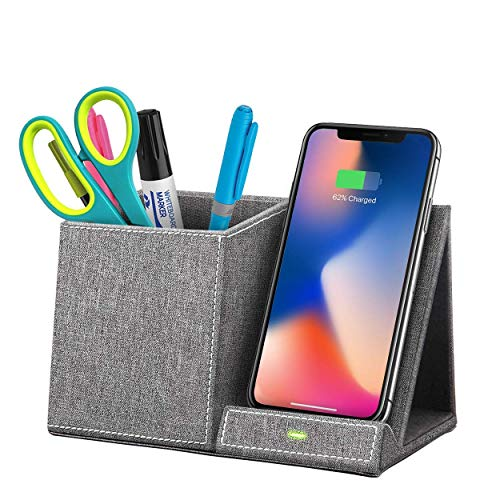 Chargio Wireless Charger Desk Organizer, Pen and Pencil Holder for Desk, Fast Wireless Charger, Compatible with Galaxy S10/S9/Note as 10W, iPhone X/XR/XS/9/8 as 7.5W, and All Qi-Enabled Phones as 5W