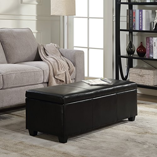 BELLEZE Modern Ottoman Bench Footstool Upholstered Faux Leather Decor for Living Room, Entryway, or Bedroom with Storage & Safety-Hinge Lid - Amherst (Black)